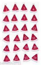 Filz - Nikolausmützen mit Klebepunkt rot/weiß Adventskalenderzahlen 1-24