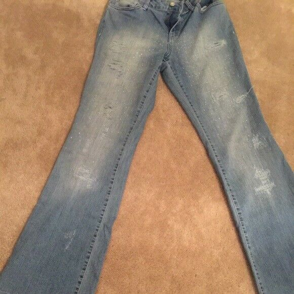 MSRP  GORGEOUS CACHE S 6 SPARKLE DISTRESSED blueE JEANS