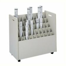Pemberly Row 50 Compartment Mobile Wood Roll Files Storage In Putty