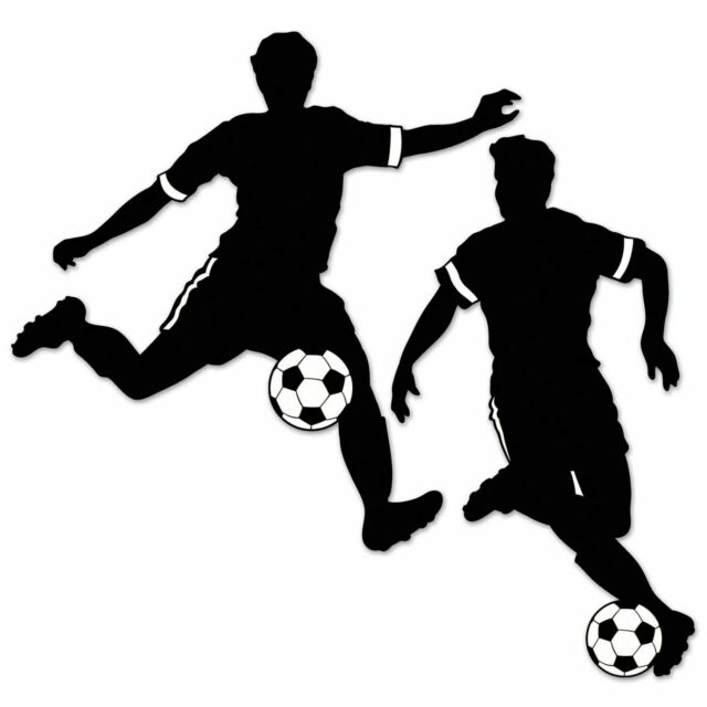 """2 MALE FOOTBALLER SOCCER SILHOUETTES 28"""" PARTY DECORATION"""