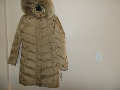 Michael Kors Down Puffer Coat Quilted Jacket Hooded Faux ...