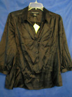 Qvc Dialogue Black Stretch Silk Top/blouse Button-up 3/4 Sleeves Sz M