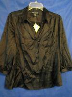 Qvc Dialogue Black Stretch Silk Top/blouse Button-up 3/4 Sleeves Sz M