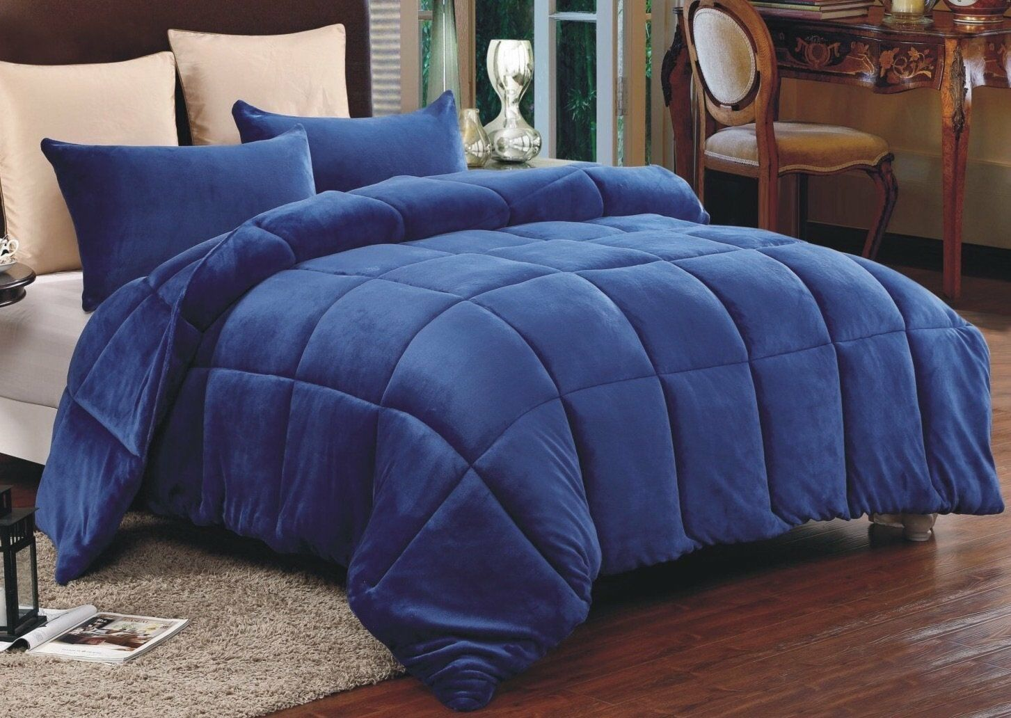 Down Alternative Supreme Plush Comforter Blanket Full Queen 3 PC Set Navy blu