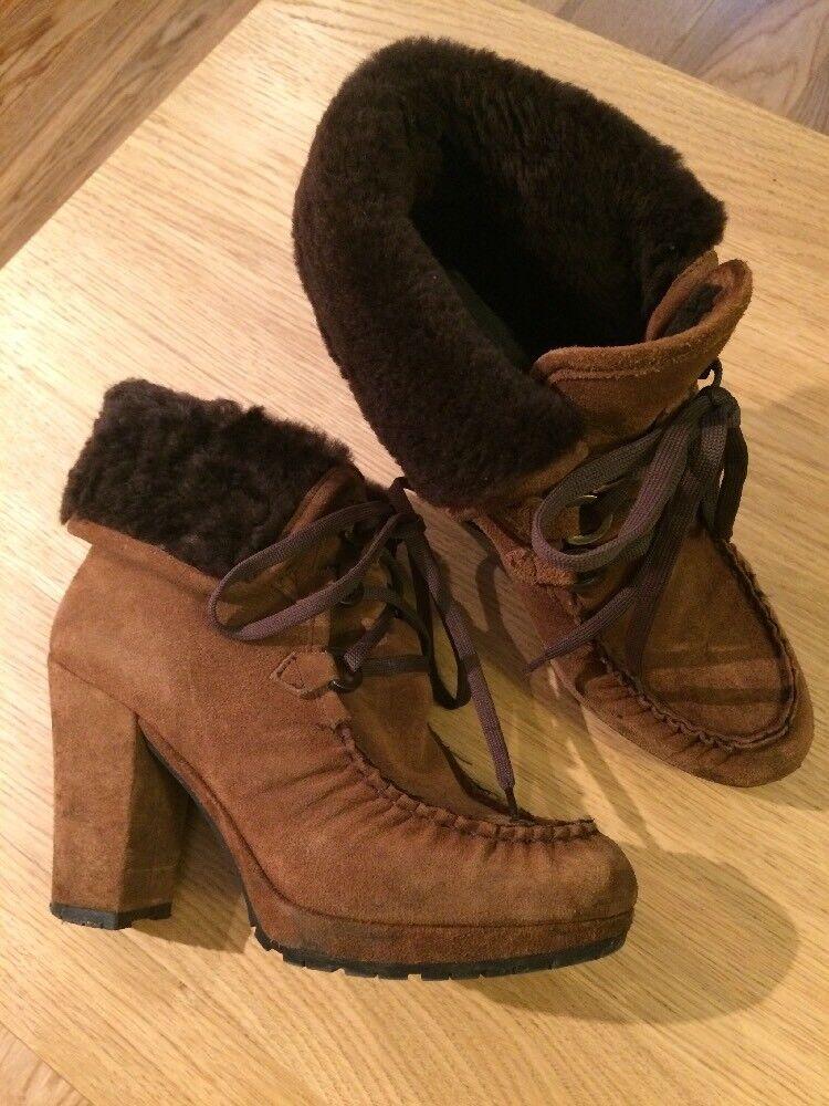 Suede Fur Lined Stiefel Größe 38 5 Pied A Terre