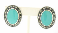 Marcasite Sterling Silver Large Oval Bezel Flush Set Turquoise Stud Earrings