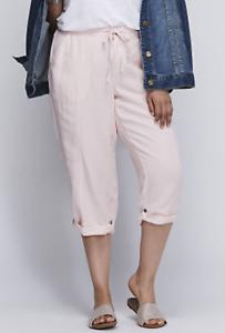 NEW  LANE BRYANT Light Pink Linen Capri Cropped PANTS - Size  26 28 4X