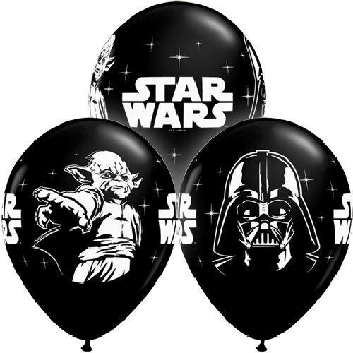 10 Star Wars 11 Latex Balloons Black White Qualatex Birthday