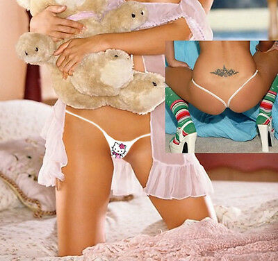 SEXY PINK HELLO KITTY GIRL MICRO PARTY THONGS SEX WHITE CROTCHLESS Y BACK TANGAS