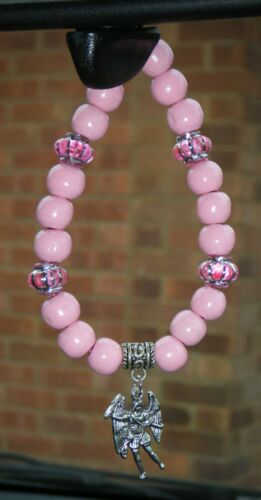 In Car Pink Matching Wood Wooden Beads /& Spacers /& Catholic Charm Holy Pendant