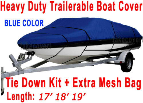 17/' 18/' 19/' stratos Bass Trailerable Boat Cover All Weather Blue Color TSB