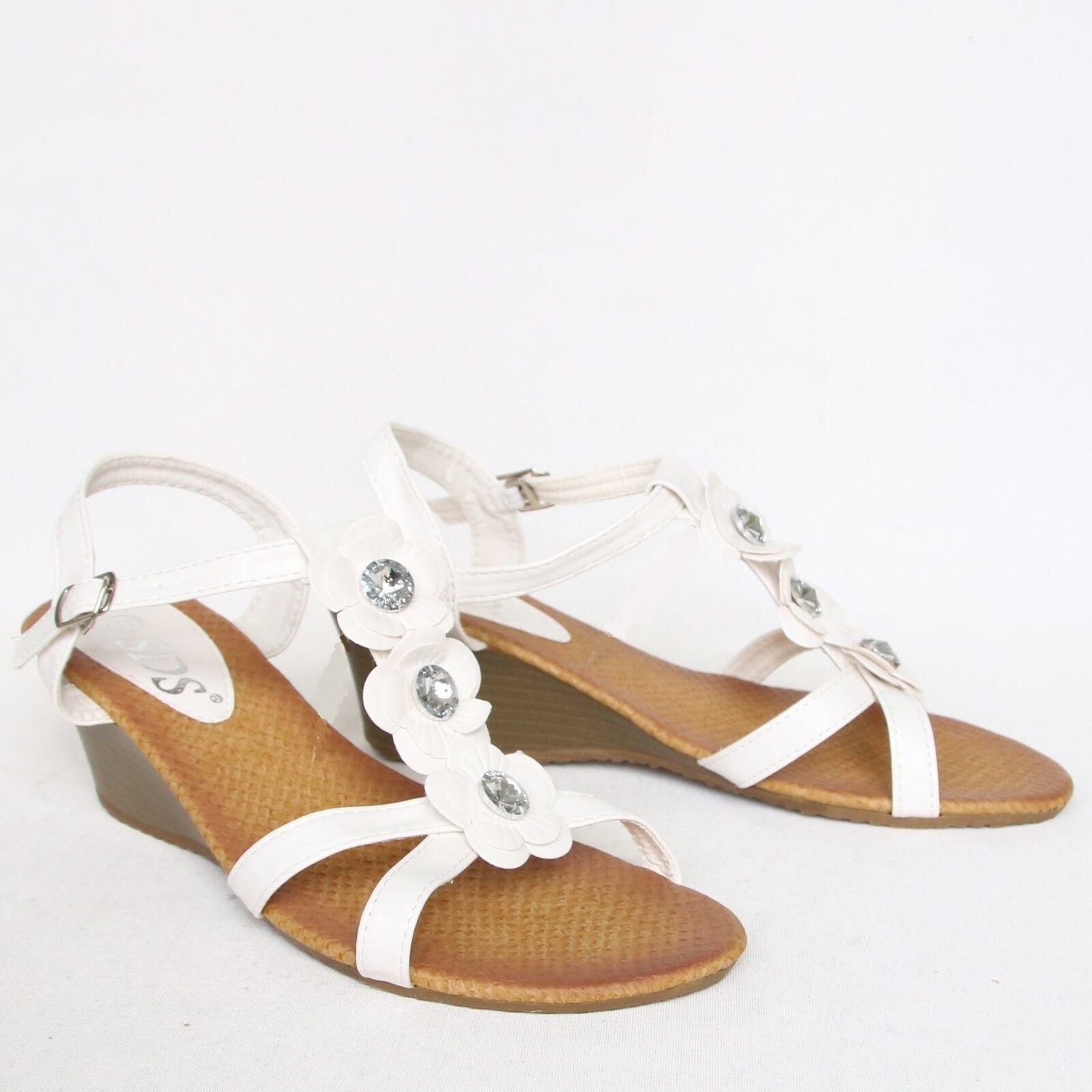 Riemchen Sandaletten 37 Weiß Sandalen Wedges Pumps High Heels Keil Neu 5976-KL
