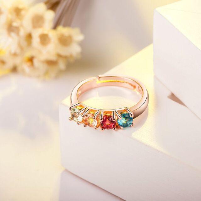 Rhinestone Lady Wedding Engagement Jewelry Rose Gold Plated Crystal Women Ring