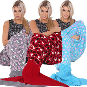 Fashion Uk Womens Ladies Knitted Mermaid Fishtail Lapghan Cocoon Warm Cozy Blank Fragrant Aroma Blankets & Throws