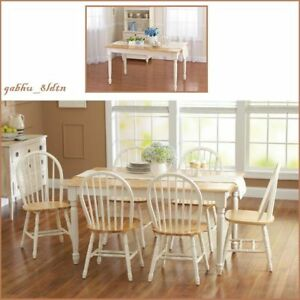 Details About Farmhouse Dining Table Home Kitchen Solid Wood Cottage Dining  Room Tables 2 Tone