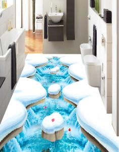 3D Snow Petal Lake 55 Floor WallPaper Murals Wall Print 5D AJ WALLPAPER UK Lemon