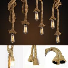 Industrial Retro Hemp Rope Ceiling Chandelier Pendant Edison Lamp Light Fixture