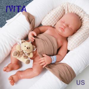 IVITA 18/'/' Eyes-closed Baby Doll BOY Full Body Soft Sleeping Silicone Baby