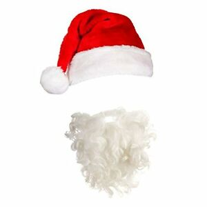 Image is loading Adult-Santa-Hat-amp-Beard-Christmas-Fancy-Dress- 184f7d8b9bd
