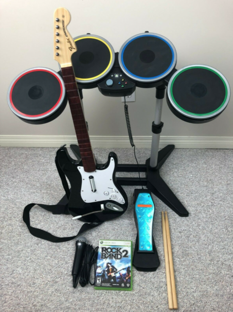 Xbox 360 Rock Band Bundle - Drums, Pedal, Stratocaster, Game, Mic