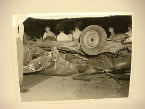 Details about Vintage Car Wreck Photo NH Accident Scene 1958 Chevy Crushed  On Roof SPP033