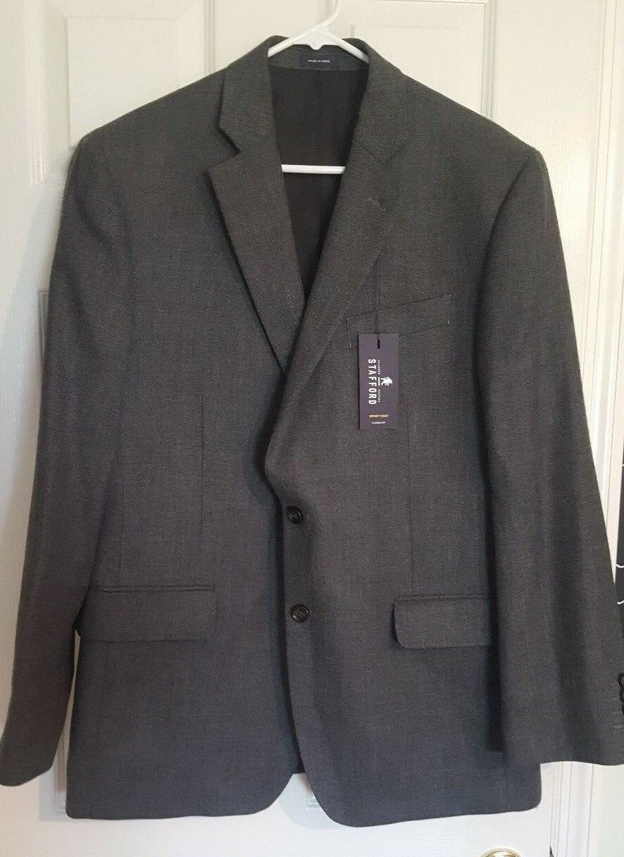 STAFFORD NWT Two Button 42R grau 100% Merino Wool Lined Sportcoat Blazer
