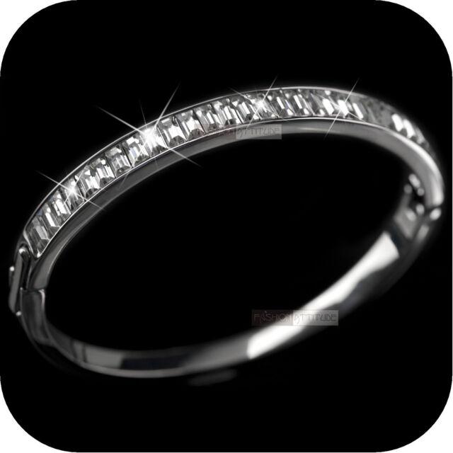 18k white gold gp made with SWAROVSKI crystal openable bangle bracelet classic
