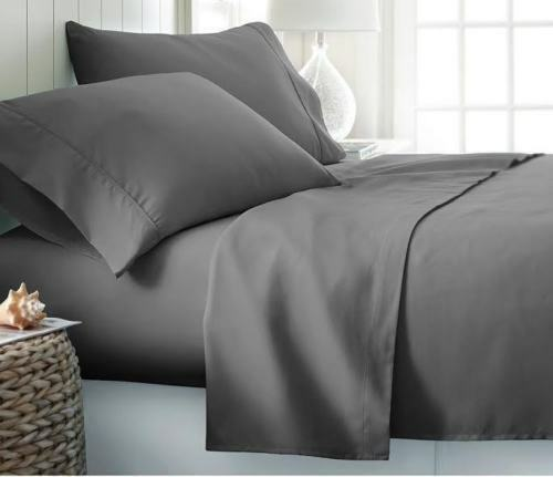 USA Size BEST BEDDING COLLECTION 100% Egyptian Cotton 800 TC Dark Grey Solid