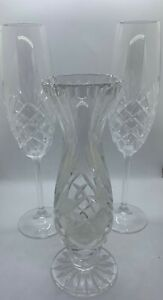 Bill-Healy-Crystal-Champagne-Glasses-and-Vase-Three-PIece-Set-from-Bill-Healy