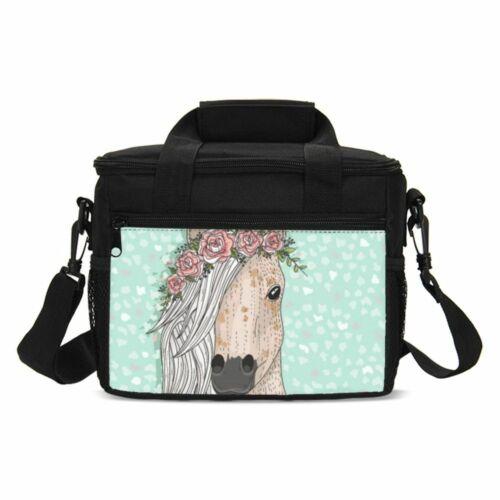 Horse Print Kids Backpack School Bag Set Boys Lunch Bag Pencil Case Lot Gift