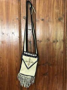 Vintage-Native-American-Crossbody-BeadeD-Bag-Southwestern-Bag-Fringe-Tassels