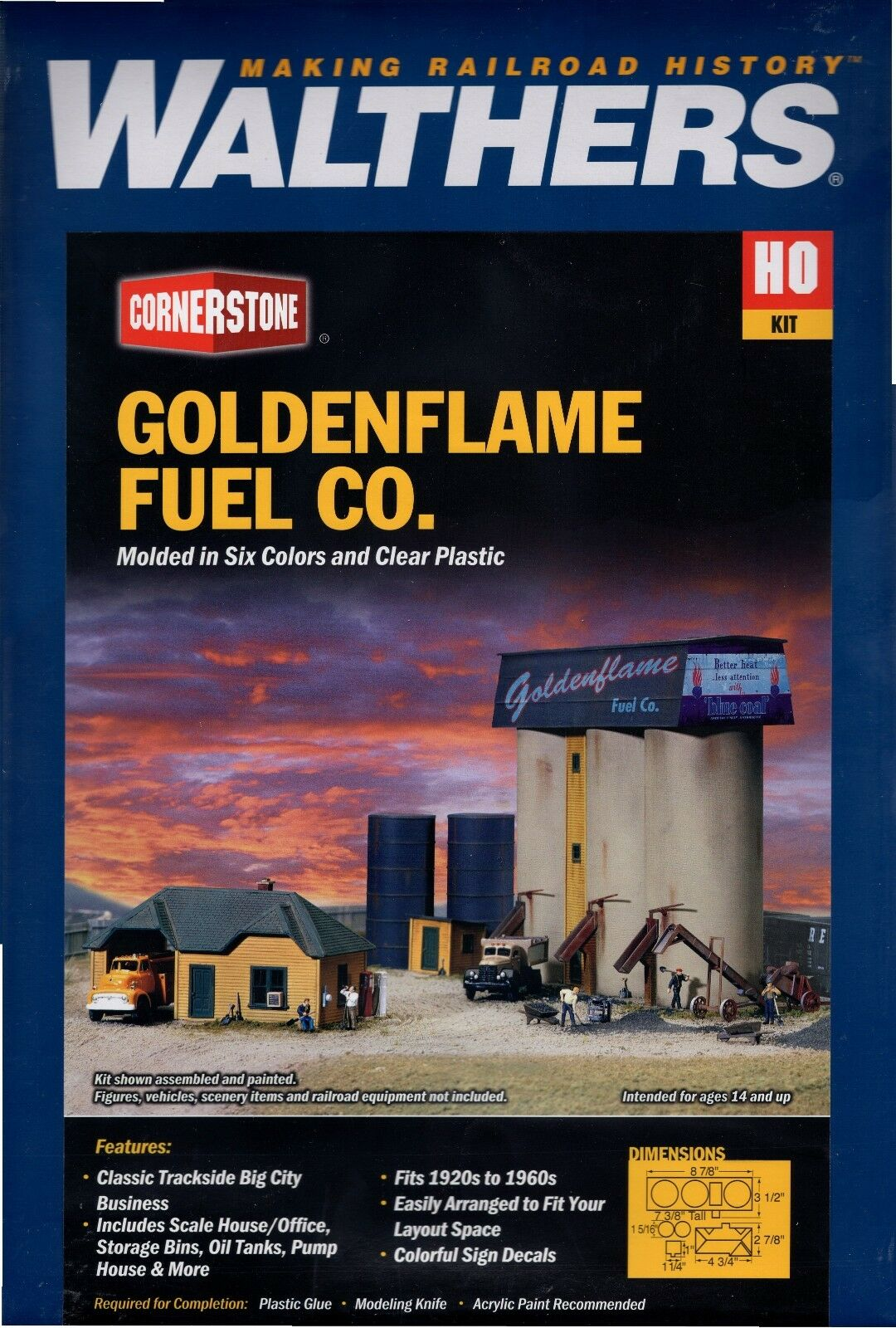 HO Scale Walthers Cornerstone 933-3087 goldenflame Fuel Company Building Kit