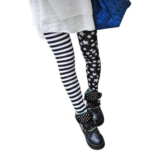 Leggings Collant Noir avec Motif a Rayures et Etoiles Blanches a la Mode WT