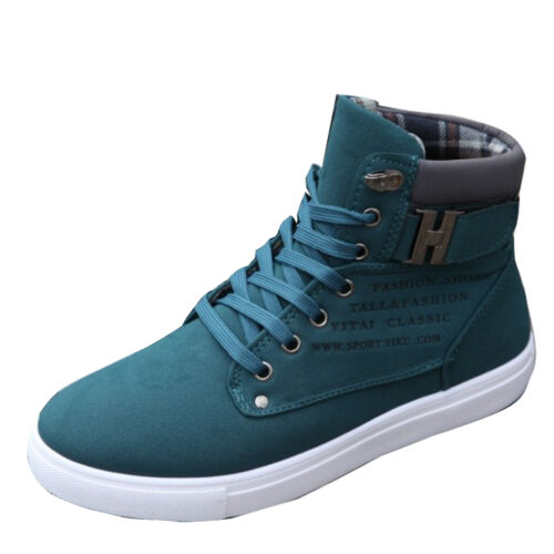 2016 Men Fashion Casual High Top Canvas Shoes Lace Up Sneakers Driving Moccasins