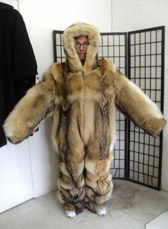 BRAND NEW DOUBLE SIDED CANADIAN COYOTE FUR SNOWSUIT JUMPSUIT COAT MEN MAN SZ ALL