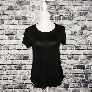 Rag-amp-Bone-JEAN-Women-039-s-Short-Sleeve-Tee-Shirt-Black-Rayon-Poly-sz-Small