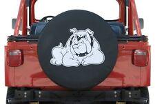 "Black Denim Spare Tire Cover Bull Dog Logo White 30"" Custom New Free Shipping"