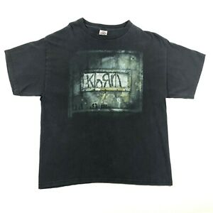 Korn-Greatest-Hits-Vol-1-Logo-T-Tee-Shirt-Large-Black-Green-Heavy-Metal-Band-VTG