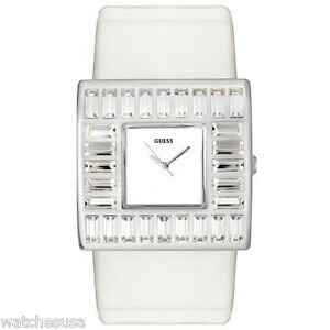 Patent White Guess Women's Details Crystal W11524l4 Accented Watch About Leather DYW29EIH