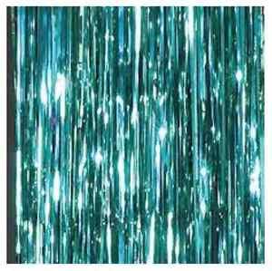 Image Is Loading FROZEN PARTY DECORATION Metallic Tinsel Curtain Aqua Elsa