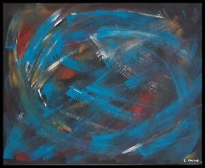Tableau Abstrait Acrylique Sur Toile Multicolore Peinture