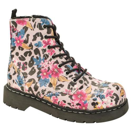 T.U.K T2228 7 Eye Boot In Pink Leo /& Floral Sublimation Print