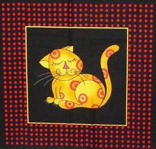 "Bright Cool Cat Kitten 4.75"" x 5"" Quilt Block Square #11 Cotton Quilting fabric"