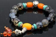 New 10mm Tibet Silver Black Dragon Veins Agate Gemstone Beads Stretchy Bracelet
