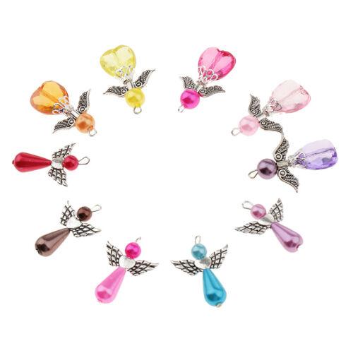 20 Stücke gemischt Silber Engel Flügel Perlen Charms Anhänger DIY