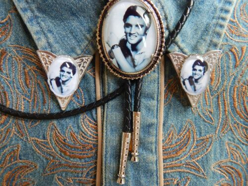 NEW  ELVIS PRESLEY BOLO TIE /& COLLAR TIPS SILVER METAL LEATHER CORD ROCKBILLY
