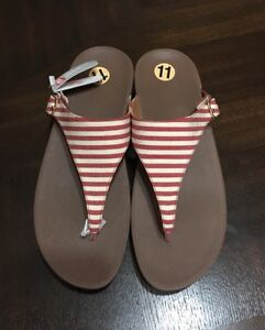 FITFLOP The Skinny ROT Stripe Thong Sandales US 9 11 UK 9 US  EUR 43 bab976