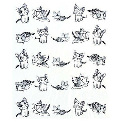 2Sheets 3D Transfer Style Cute Cat Nail Art Stickers Manicure Nail Polish Decal
