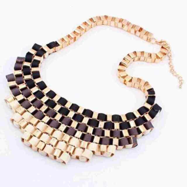Fashion Jewelry Pendant Chain Crystal Choker Chunky Statement Bib Necklace Kj