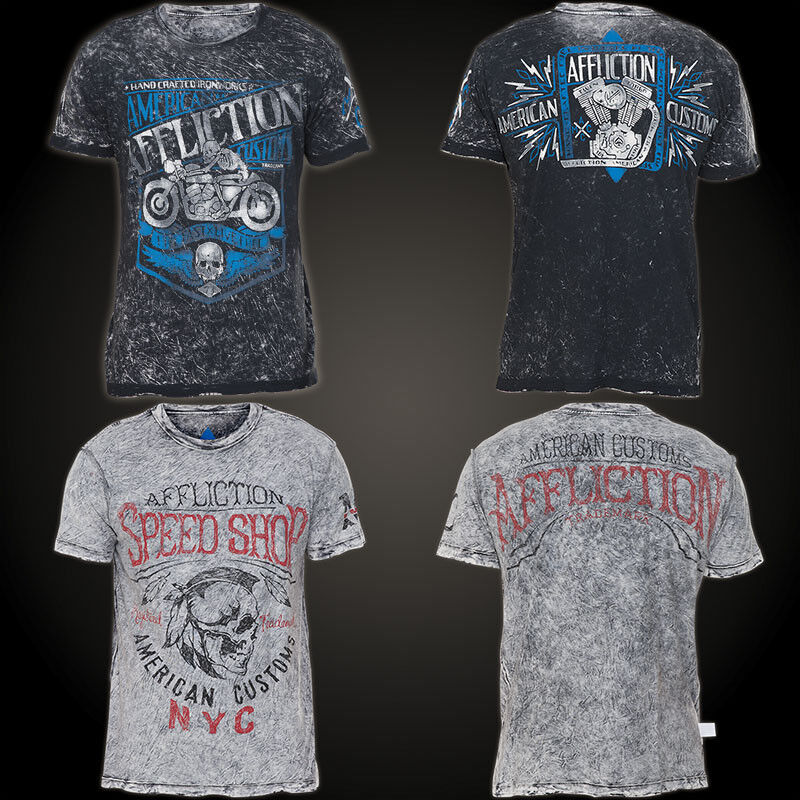 AFFLICTION T-Shirt Motor Oil Rev. Schwarz/Grau T-Shirts